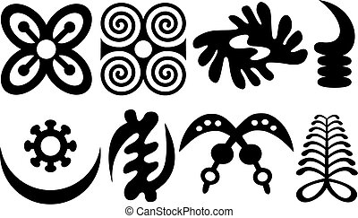A set of akan and adinkra west african symbols
