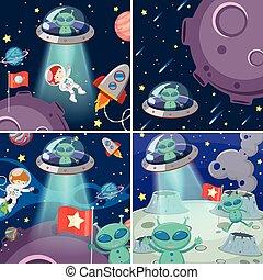 A set of alien in space
