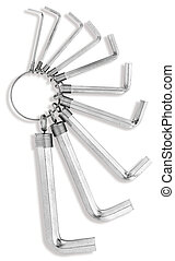 a set of allen, hex keys isolated on a white background with...