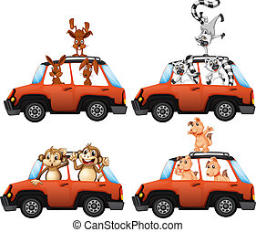 A set of animal on car
