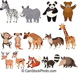 A Set of Animals on White Background