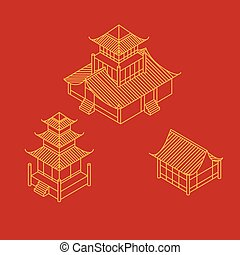 A set of architectural elements in Oriental style. Outline Isometric Pagoda house. Chinese and japanese landmark.
