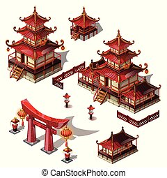 A set of architectural elements in Oriental style. Pagoda house and gate black and red color. Vector cartoon close-up illustration.