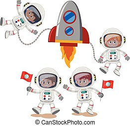A set of astronaut on white background
