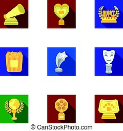 A set of awards for the movie viewings. Gold, silver and bronze awards to the Director, the actor. Moovie awards icon in set collection on flat style vector symbol stock illustration.