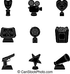 A set of awards for the movie viewings. Gold, silver and bronze awards to the Director, the actor. Moovie awards icon in set collection on black style vector symbol stock illustration.