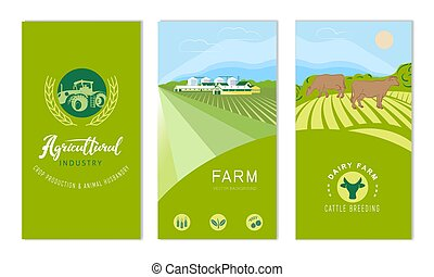 A set of banners with the concept of agriculture