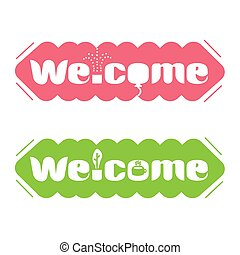 A set of banners with the word welcome