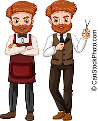A set of barber on white background