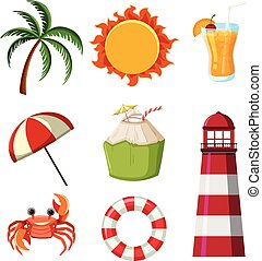 A Set of Beach Element illustration