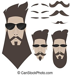 A set of bearded men, different shapes of whiskers,