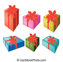 A Set of Beautiful Gift Boxes with Red Ribbon