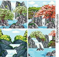 A set of beautiful waterfall