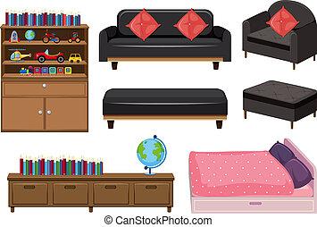 A set of bedroom elements