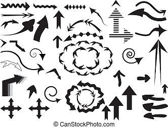 a set of black arrows