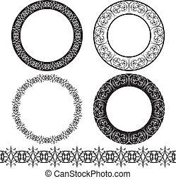 A set of black circular pattern
