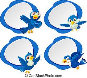 A set of blue bird banner