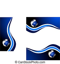 A set of blue global vector business stationary