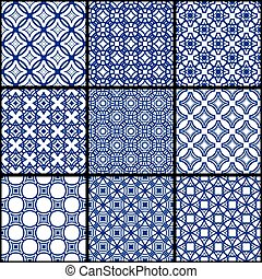 A set of blue seamless geometric patterns.