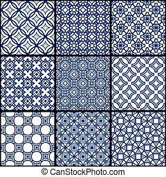 A set of blue seamless geometric patterns.