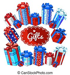 A set of boxes with Christmas gifts isolated on white background. Sample of the poster, party invitation and other cards. Vector illustration.