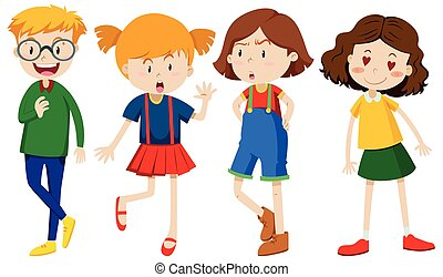 A Set of Boy and Girl Expression