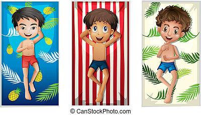 A set of boy on beach towel