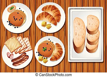 A Set of Breakfast on Wooden Table