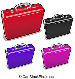 A set of briefcases in different colors isolated on a white background. Vector illustration.