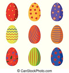 A set of bright colorful Easter eggs