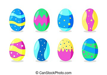 A set of bright colorful Easter eggs, vector illustration on a white background.