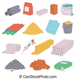 A set of building materials icons a vector isolated illustrations