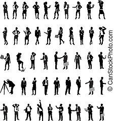 business people - a set of business people silhouettes
