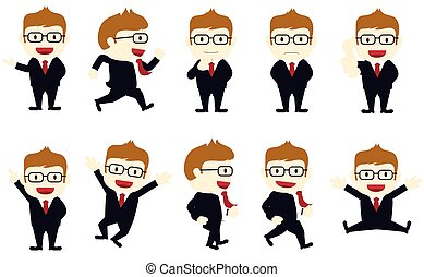 a set of businessmen with different poses