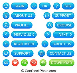 A set of buttons for a web blog. Vector icons in blue color round shapes and buttons on a white background.