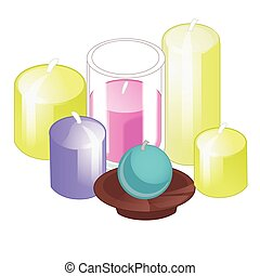A set of candles of different shapes isolated on white background. Vector illustration.