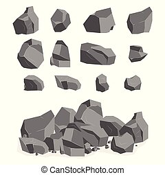 A set of cartoon stones and rocks