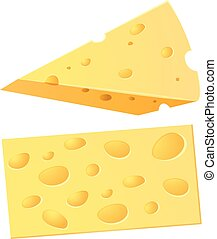 A Set of Cheese on White Background