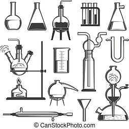chemical glassware - A set of chemical glassware and...