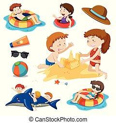A Set of Children and Beach Activities