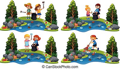 A Set of Children Cleaning River