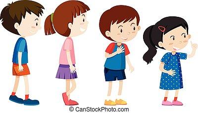 A set of children line up illustration