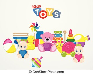A set of children's toys for the youngest. Vector illustration