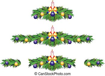 A set of Christmas and New Year decorations for websites, cards, banners or posters.