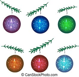 A set of Christmas balls. New Year. Vector illustration.