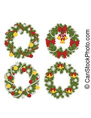 A set of Christmas Fir Wreath with bells, bows, balls and snowflakes isolated on white background. Xmas wreath crowns garland, symbol of the New Year and Christmas icons. Vector illusatration