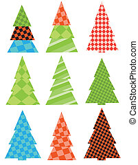 A set of Christmas trees.