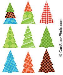 A set of Christmas trees.