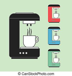 A set of coffee machines pouring ho