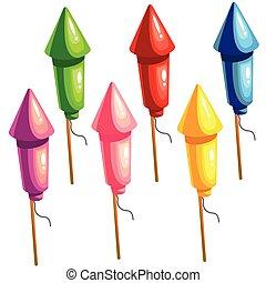 A set of color rockets for fireworks